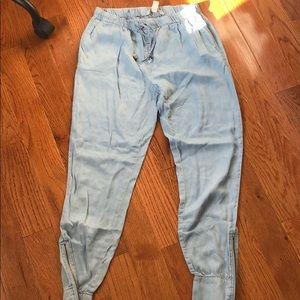 Pants - Blue denim like joggers
